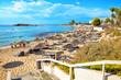 View of turquoise water Nissi beach in Aiya Napa, Cyprus. Ayia Napa coastline.