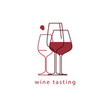 Wine glasses. Linear vector illustration. Template for menu, tasting, restaurant, party, logo, icons. - 180712894
