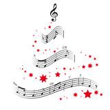 Weihnachtsbaum und Noten Vektor Illustration - 180715465