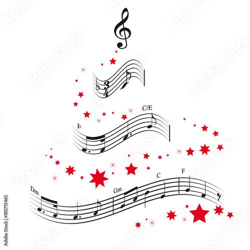 Fotobehang Muziek Weihnachtsbaum und Noten Vektor Illustration
