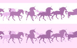 running fairy tale unicorn horses herd - seamless silhouette vector border