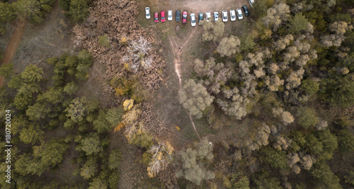 Foto op Canvas Natuur aerial view of cars parked in a forest in autumn