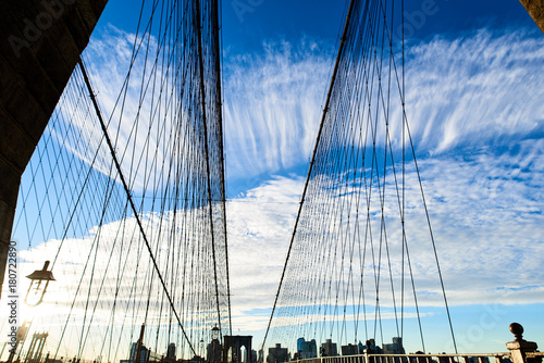 Plexiglas Brooklyn Bridge Vertical horizon on Brooklyn Bridge in New York