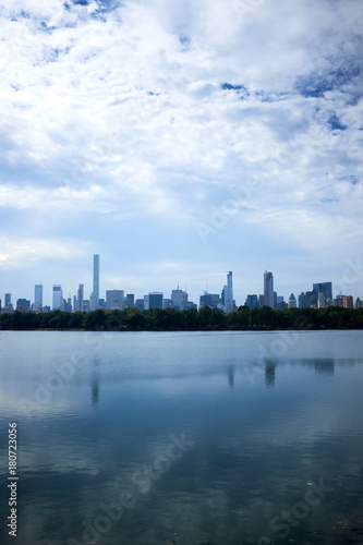 Foto op Aluminium New York New York skyline and reflection on Jackie Onassis reservoir in Central Park, Manhattan, New York