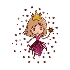 princess fairy with crown and magic wand in colored crayon silhouette