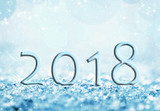 2018 in the snow, bokeh background, holiday greeting card - 180726272