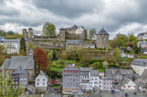 Fotobehang Lente view of Monschau with castle from hill, Germany