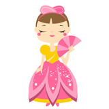 Cute kawaii fairy tale princess holding tan. Girl in queen costume. Cartoon style vector illustration