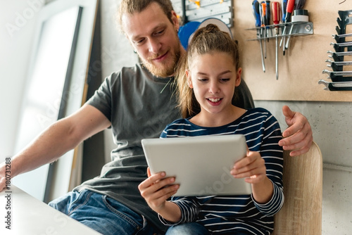 Surfing on digital tablet Poster