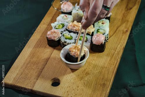 Aluminium Sushi bar Japanese traditional cuisine.