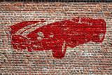 Graffiti, voiture de sport rétro rouge - 180733021
