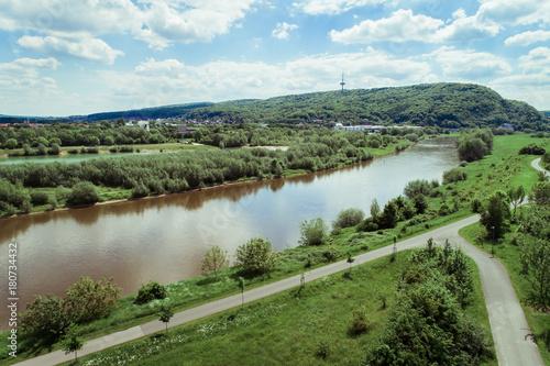 Fotobehang Bergrivier Weser an der Porta Westfalica
