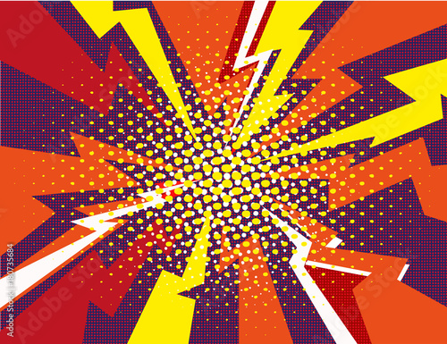 Comic book explosion ray red yellow purple background vector illustration - 180735684
