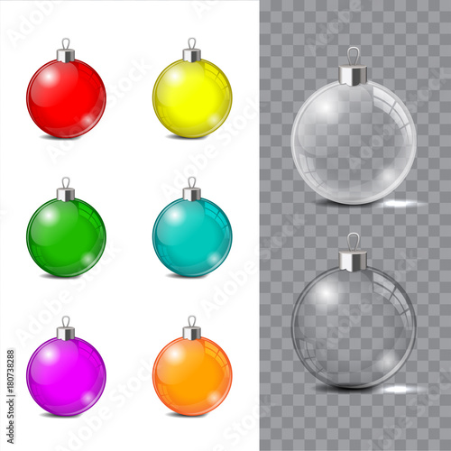 In de dag Bol Glass Christmas toy on a transparent background. Stocking Christmas decorations or New Years. Transparent vector object for design, mock-up.