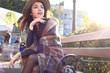 Outdoor beauty portrait woman, fashion model, pretty girl, street style - 180739400