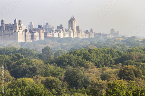 Foto op Aluminium New York New York City foggy panoramic landscape view of the historic buildings of the Upper West Side towering above the trees of Central Park in Manhattan, NYC