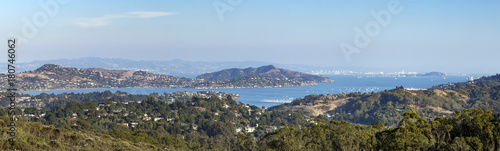 Fotobehang San Francisco Panoramic view of the San Francisco bay area seen from an overlook in the hills of Marin County, California