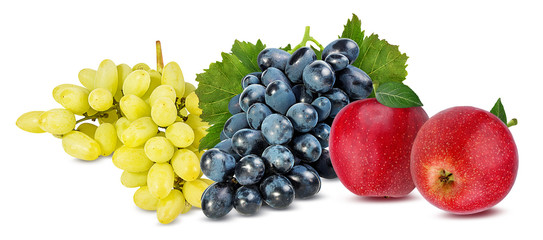Fresh grapes and apples isolated on white background with clipping pass