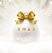 Christmas white bauble with glitter gold bow ribbon and type design. Christmas ball on a snow. Vector illustration.