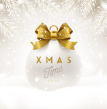 Christmas white bauble with glitter gold bow ribbon and type design. Christmas ball on a snow. Vector illustration. - 180747495