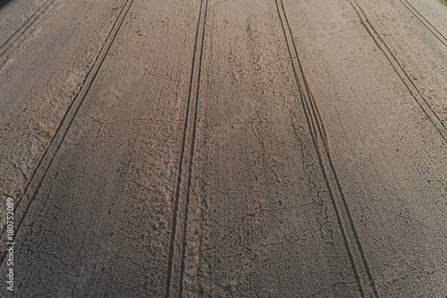 Foto op Plexiglas Cappuccino Luftaufnahme von Feldern im August