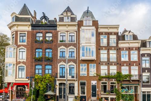 Papiers peints Cappuccino Maisons typiques à Amsterdam, Hollande, Pays-bas