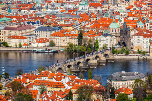Papiers peints Prague View of Charles Bridge over Vltava river and Old city from Petri