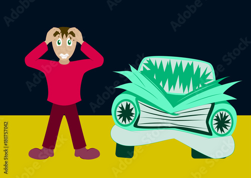 Fotobehang Auto Worried driver with his breakdown car vector illustration. Flat concept design on man standing text to broken car