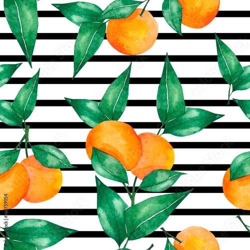 akwarela-bezszwowe-wzor-z-pomaranczy-i-zielonych-lisci