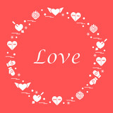 Cute vector illustration with different romantic symbols arranged in a circle.