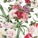 Seamless floral pattern with roses, watercolor. - 180765465