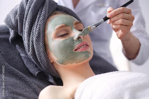 Fotobehang Spa Beautiful woman having mask , lying on spa . Woman. Spa salon