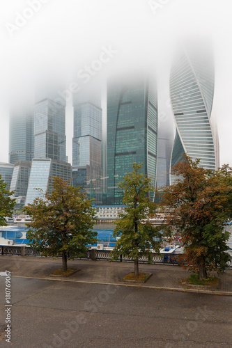 Fotobehang Moskou Moscow city in fog in autumn