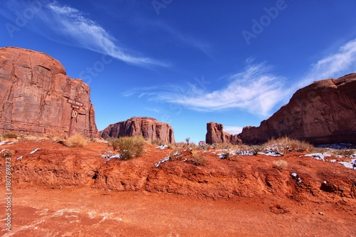 Foto op Canvas Baksteen Red rocks in the Monument Valley