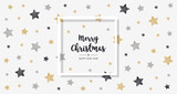 christmas scribble stars golden black greeting text frame card  background - 180770001