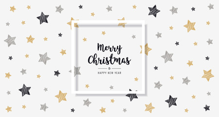 christmas scribble stars golden black greeting text frame card  background