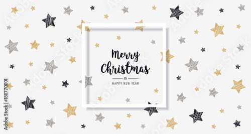 Papiers peints Echelle de hauteur christmas scribble stars golden black greeting text frame card background
