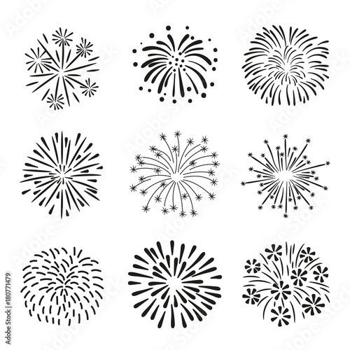 Set of hand drawn fireworks isolated on white background. - 180771479