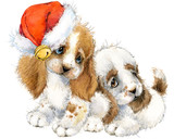 Dog year greeting card. cute puppy watercolor illustration.