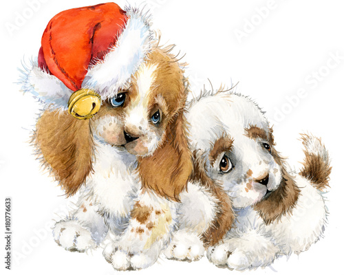 Obraz na płótnie Dog year greeting card. cute puppy watercolor illustration.