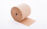 Paper roll mock up isolated on white background. Blank white packaging kitchen towel, toilet paper roll, cash register tape, thermal fax roll. Paper roll template - 180777807