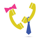 Symbol call center icon, support phone operators man and woman. Couple talk on phone. Flat vector design. - 180778074