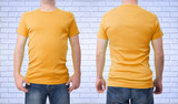 Shirt design and people concept - close up of man in blank white t-shirt front and rear isolated. Clean empty mock up tamplate for design set. - 180778217