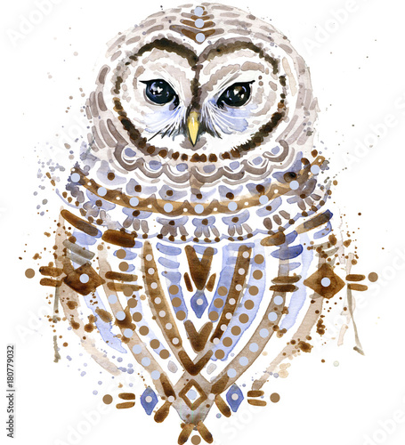 Owl watercolor illustration.