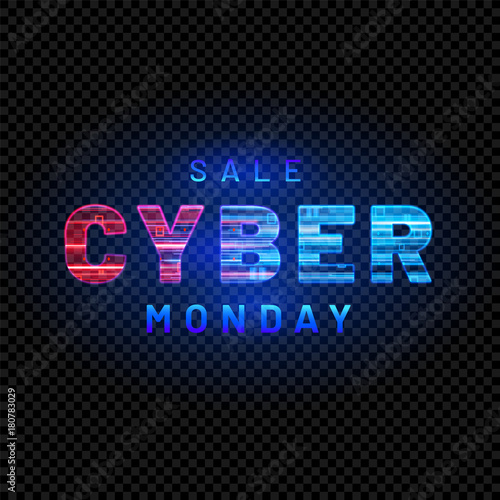 Cyber Monday. Promotional online sale event. Vector technology illustration. Textured neon light sign with with neon lines, geometric figures. Futuristic label design. Luminous cyber hologram