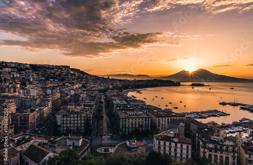 Wall mural Beautiful Sunrise in Naples, Italy