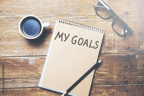 Poster my goals text on notepad