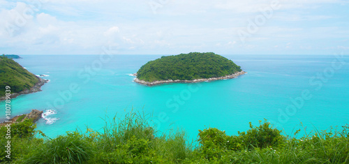 Fotobehang Turkoois Beautiful landscape island beach blue sea and sky scenery summer holiday in Phuket Thailand