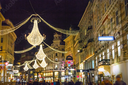 Foto op Canvas Wenen Graben street by night in Vienna, Austria
