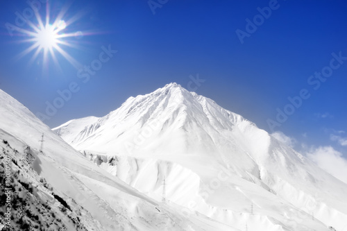 Winter snow covered mountain region of Kazbegi mountains.